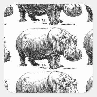 Adesivo Quadrado ouro do hippopotamus
