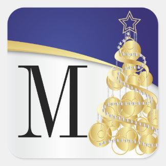 Adesivo Quadrado Ouro do monograma & Feliz Natal azul