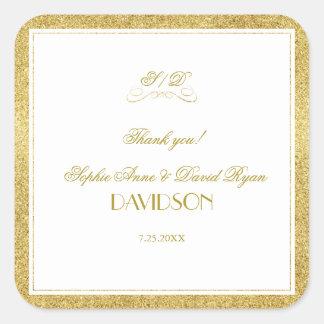 Adesivo Quadrado Ouro elegante e casamento branco da beira