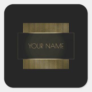 Adesivo Quadrado Ouro preto de marcagem com ferro quente luxo
