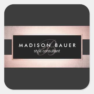 Adesivo Quadrado Ouro preto do monograma elegante e cor-de-rosa