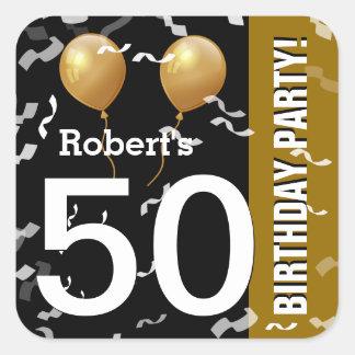 Adesivo Quadrado OURO PRETO K96Z do 50th aniversário dos confetes