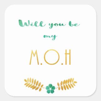 Adesivo Quadrado Ouro verde da honra da honra da noiva da empregada