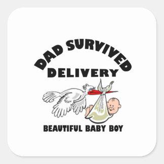 Adesivo Quadrado Pai e filho bonito do bebê