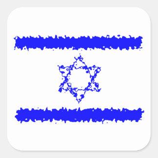 Adesivo Quadrado País do azul de Israel das bandeiras