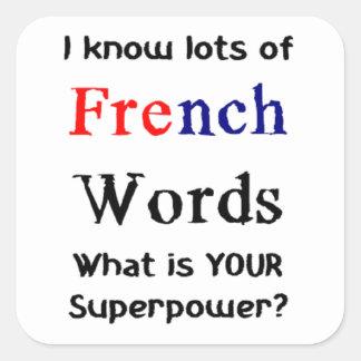 Adesivo Quadrado palavras francesas