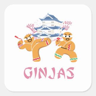 Adesivo Quadrado Pão-de-espécie de Ninja do Natal de Ginjas Ninjas
