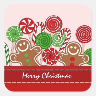 Adesivo Quadrado Pão-de-espécie vermelhos bonitos do Natal