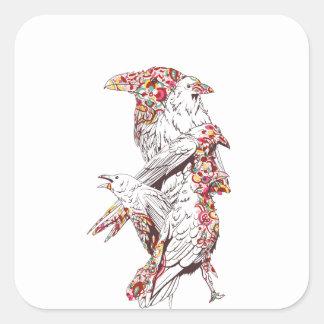 Adesivo Quadrado papagaios bonitos e animais do vintage