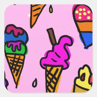 Adesivo Quadrado Papel de parede do sorvete