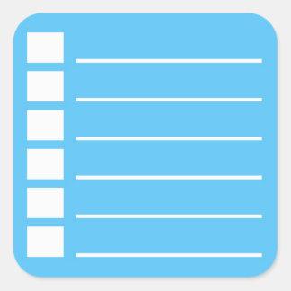 Adesivo Quadrado Para fazer a lista com para verificar fora