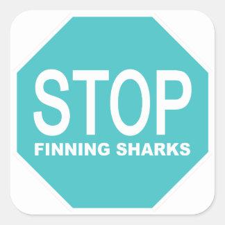 Adesivo Quadrado Pare o sinal dos tubarões de Finning