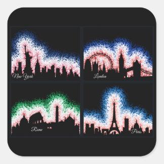 Adesivo Quadrado Paris, Londres, Roma e NYC