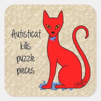 Adesivo Quadrado Partes do quebra-cabeça dos matares de Autisticat