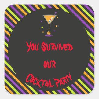 Adesivo Quadrado Partido de cocktail assustador do Dia das Bruxas