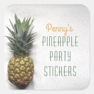 Adesivo Quadrado Partido personalizado do abacaxi