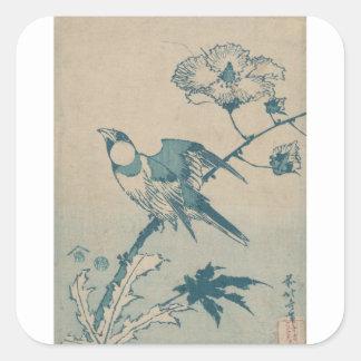 Adesivo Quadrado Pássaro azul
