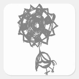 Adesivo Quadrado pássaro do baloon