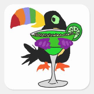 Adesivo Quadrado Pássaro engraçado artística de Toucan que bebe