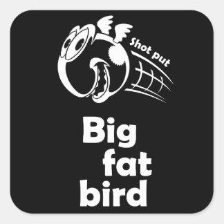 Adesivo Quadrado Pássaro psto tiro gordo grande