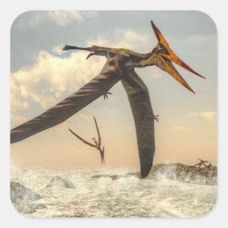 Adesivo Quadrado Pássaros de Pteranodon - 3D rendem
