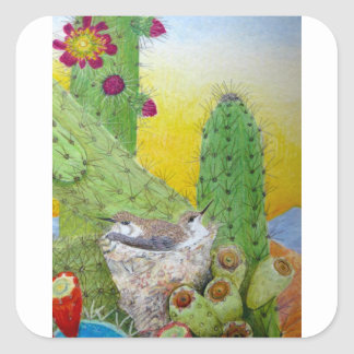 Adesivo Quadrado Pássaros no deserto