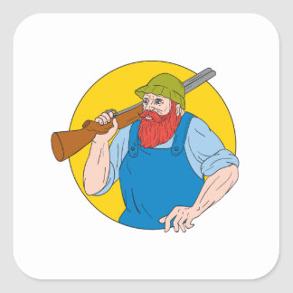Adesivo Quadrado Paul Bunyan o desenho do círculo do caçador