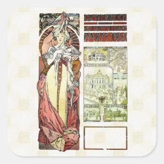 Adesivo Quadrado Pavilhão do austríaco de Alfons Mucha 1900