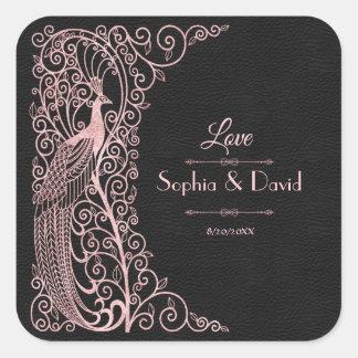 Adesivo Quadrado Pavões cor-de-rosa do art deco do ouro que Wedding