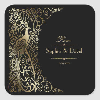 Adesivo Quadrado Pavões Glam do art deco do ouro que Wedding