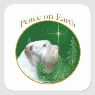 Adesivo Quadrado Paz de Sealyham Terrier na terra