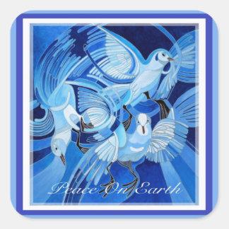 Adesivo Quadrado Paz na terra com pombas