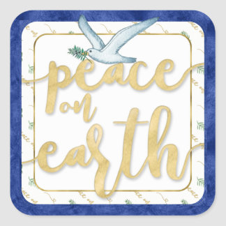 Adesivo Quadrado Paz no Natal Kwanzaa Hanukkah da terra