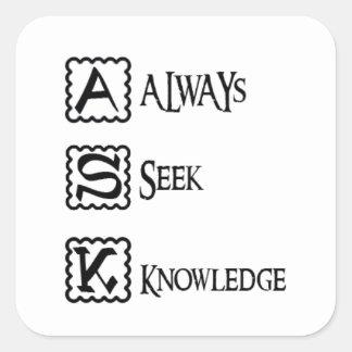 Adesivo Quadrado Peça, procure sempre o conhecimento