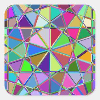 Adesivo Quadrado Pedra de gema tirada Kaleidescope colorida