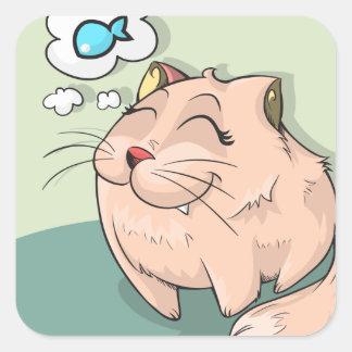 Adesivo Quadrado Peixes animais do gato que pensam o animal de