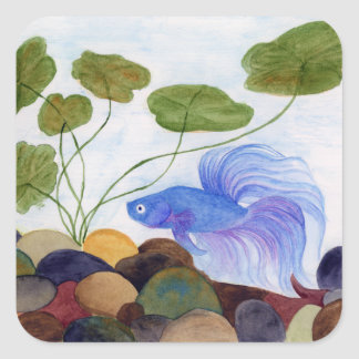 Adesivo Quadrado Peixes azuis de Betta