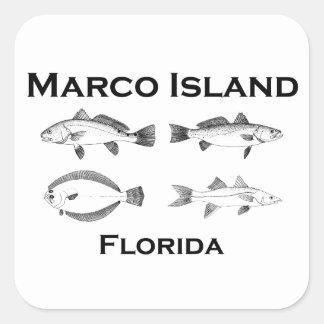 Adesivo Quadrado Peixes de água salgada da ilha de Marco