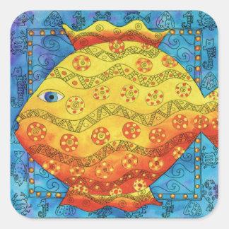 Adesivo Quadrado Peixes modelados