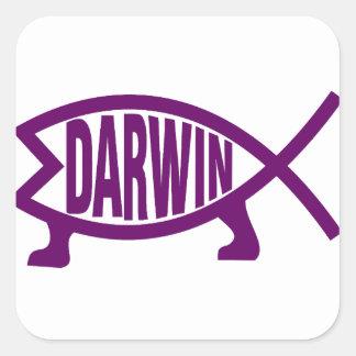 Adesivo Quadrado Peixes originais de Darwin (violetas)