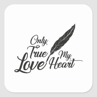 Adesivo Quadrado Pena verdadeira do amor da ilustração