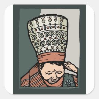Adesivo Quadrado Pensamento asiático central da mulher (no chapéu)