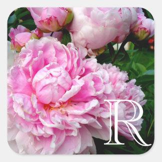 Adesivo Quadrado Peônia cor-de-rosa e branca
