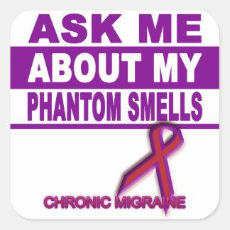Adesivo Quadrado Pergunte-me sobre meus cheiros fantasmas -