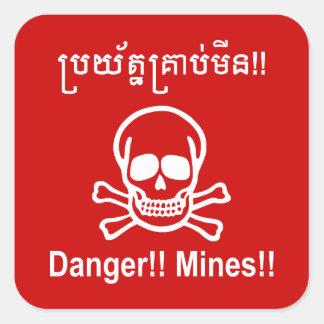 Adesivo Quadrado Perigo!! Minas!! ☠ cambojano do sinal do Khmer do