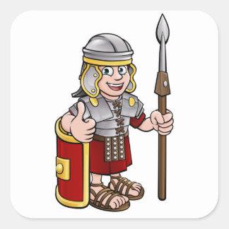 Adesivo Quadrado Personagem de desenho animado romano do soldado