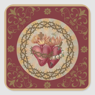 Adesivo Quadrado PERSONALIZE corações dos espinhos dos rosas de