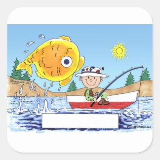 Adesivo Quadrado Pesca, pescador - desenhos animados personalizados