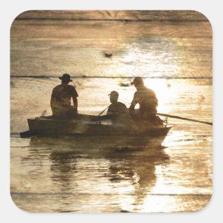 Adesivo Quadrado Pesca primitiva da canoa do barco do lago do país