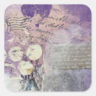Adesivo Quadrado Pétalas violetas - coleção